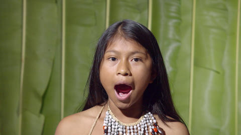 Young Girl Opening And Closing The Mouth In Ecuador Live Action