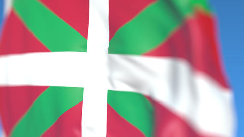 Waving flag of Basque Country, an autonomous community in Spain. Close-up Footage