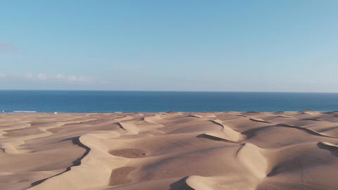 Panoramic view from the height of a natural landmark - sand Sahara in Spain - Live Action