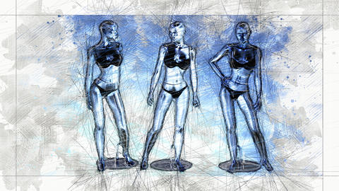 Digital Animation of an artistic Sketch, based on a self-created 3D Illustration of a Manikins, Animation