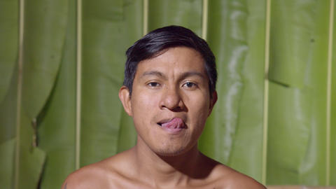Adult Man Licking Lips In Ecuador Live Action