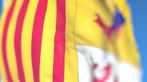 Waving flag of Provence-Alpes-Cote d'Azur, a region of France. Close-up Live Action