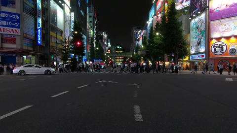 Japan city scenery. Akihabara intersection in Tokyo's electric street Live Action