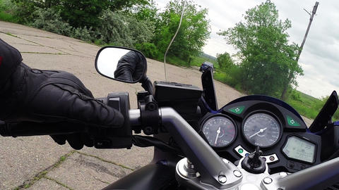 Raising the glass on a motorcycle Footage