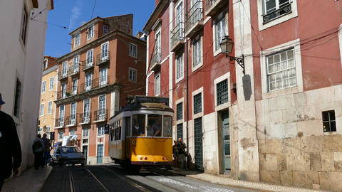 Historic old tram in streets of Lisbon Footage