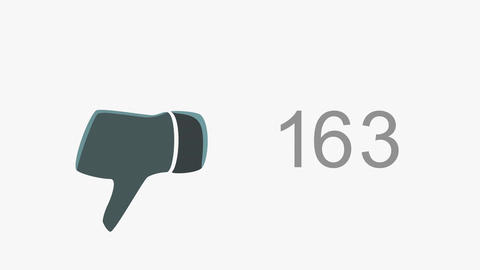4K Dislike Counter Counts Up then Blinking Online Popularity Concept 1 Animation