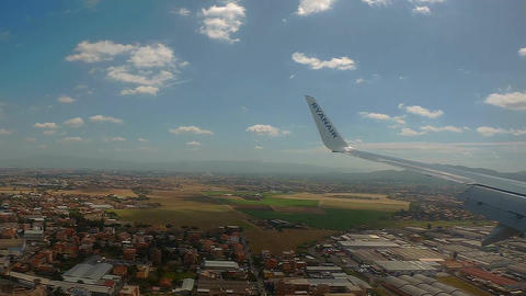 Rome 17 June 2016. Ryanair landing to Ciampino airport. Time lapse window view o Footage