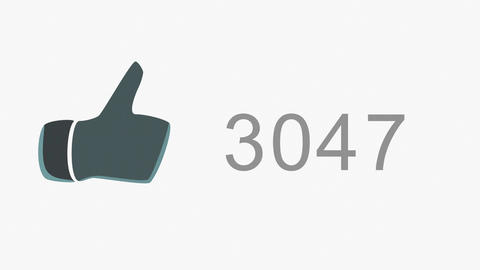 4K Thumb Up Like Counter Counts Up Online Popularity Concept 1 Animation