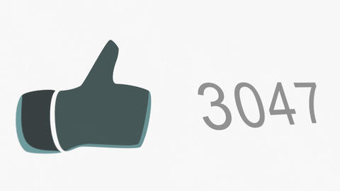 4K Thumb Up Like Counter Counts Up Online Popularity Concept 2 Animation