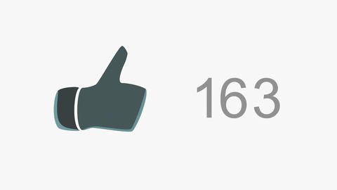 4K Thumb Up Like Counter Counts Up then Blinking Online Popularity Concept 1 Animation