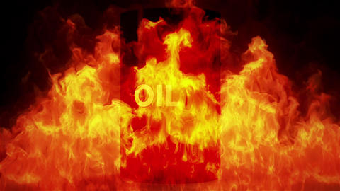 4K Oil Barrel in Raging Fire Oil Price Crisis Concept 1 Animation