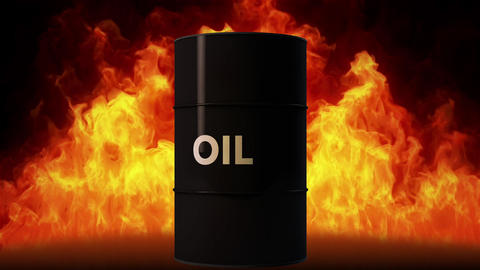 4K Oil Barrel in Raging Fire Oil Price Crisis Concept 2 Animation