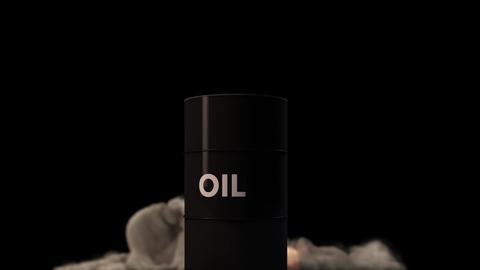 4K Raging Fire Blast behind Oil Barrel CG動画素材
