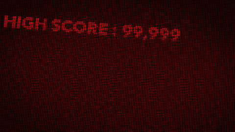 4K Hit High Score and Game Over Retro Video Game Display 2, Stock Animation
