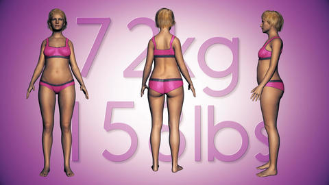 4K Simulation of a Fat Woman Loosing Body Weight and BMI Index 4 Animation