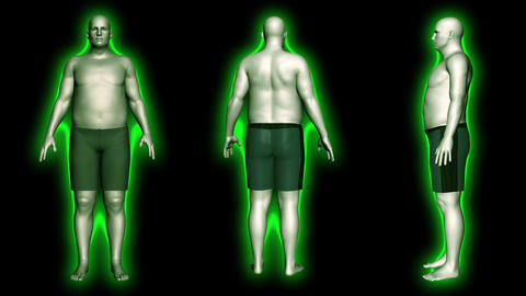4K Simulation of a Obese Man Loosing Body Weight and BMI Index v2 4 Animation