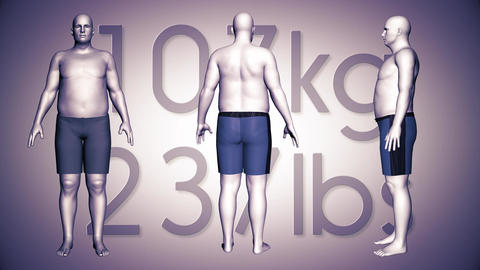 4K Simulation of an Obese Man Loosing Body Weight and BMI Index 8 Animation