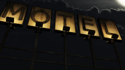 4K Old Grungy Motel Sign On the Road at Night 2 Animation