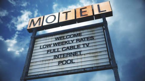 4K Old Grungy Motel Sign under Daytime Cloudy Sky Timelapse 6 Animation
