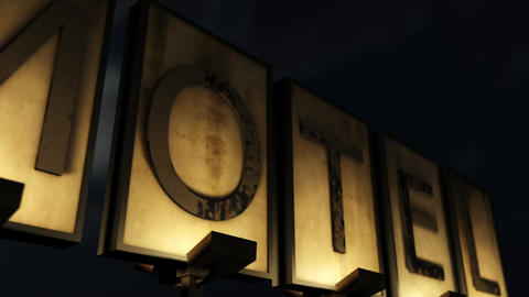 Old Grungy Motel Sign Closeup at Night Closeup Animation