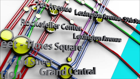 4K Subway Lines and Stations in Manhattan New York City 2 Animation