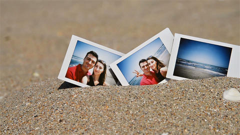 Instant Photo Of Young Happy Couple On The Beach Footage