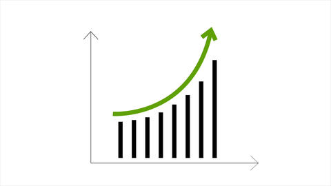 Growing graph with green arrow video animation Animation