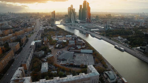Helicopter flying over embankment of the Moskva River, the world trade center Footage