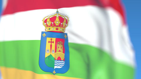 Flying flag of La Rioja, an autonomous community in Spain. Close-up, loopable 3D Footage