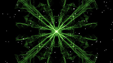 Green square mandala emitting white particles. Mandala for energy obtaining Animation