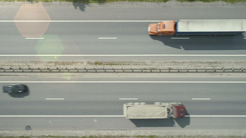 Aerial view on the highway with autos and trucks Footage