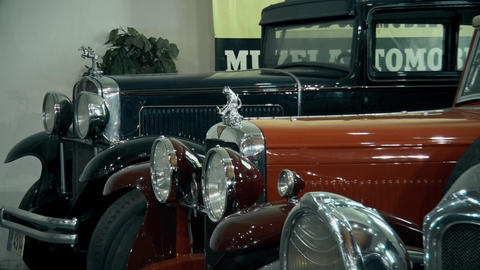 Beautiful Old and preserved cars in museum GIF