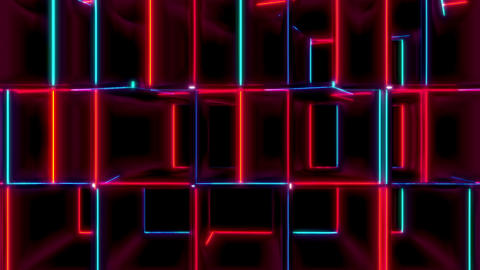 VJ Loops Collection Red And Blue Cubes
