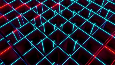 Red And Blue Cubes Diagonal Wave Seamless VJ Loop Animation