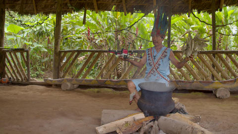Indigenous Shaman Performs A Traditional Magic Ritual On A Drone In Ecuador Live Action