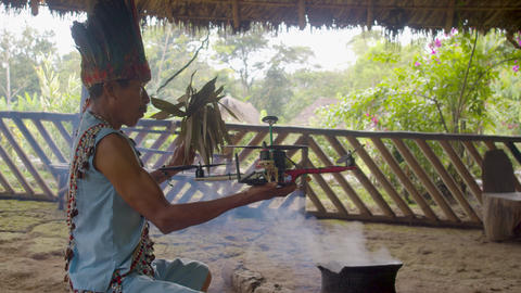 Indigenous Shaman Performs A Traditional Magic Ritual In... Stock Video Footage