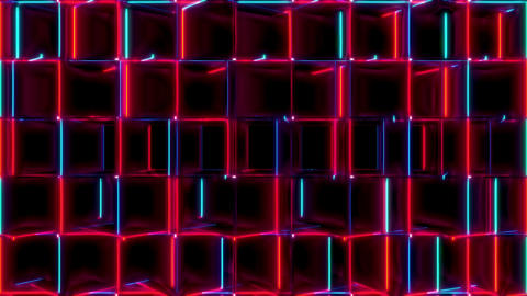 Red And Blue Cubes Horizontal Rotate Seamless VJ Loop Animation