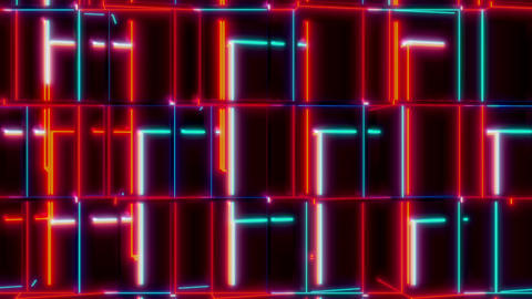 Red And Blue Cubes Reflections Seamless VJ Loop Animation