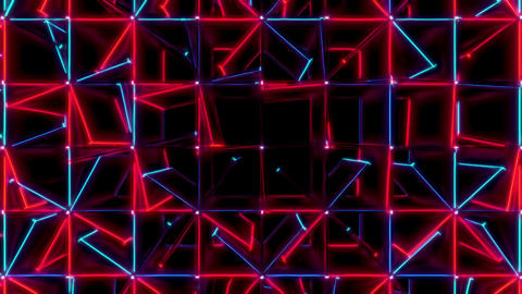 Red And Blue Cubes Spinning Seamless VJ Loop Animation