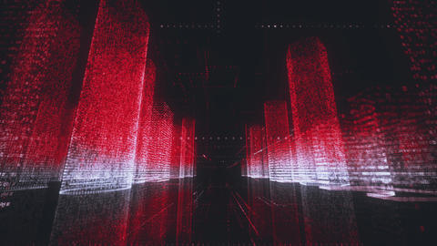 bright abstract modern digital city wireframe in bright red and white colors Footage