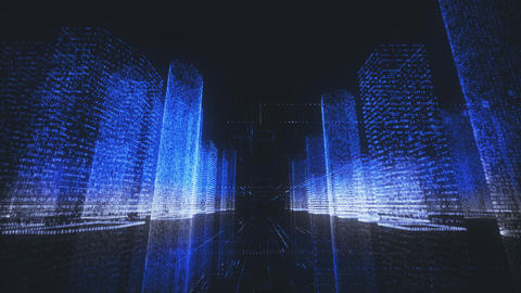 bright digital city wireframe in bright blue and white colors consist of Footage