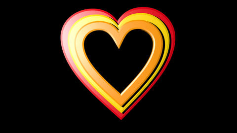 Rainbow hearts falling on black background. Seven hearts in different colors and Animation