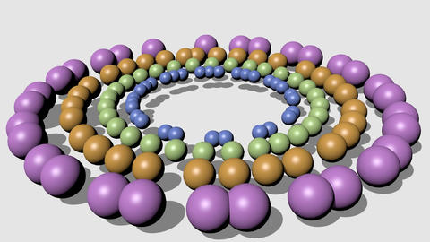 Beautiful pastel colored beads moving in circle on white background. 3d video Animation