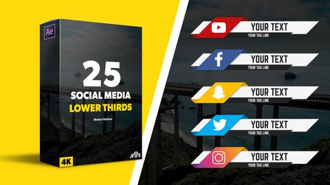25 Social Media Lower Third Pack After Effects Template