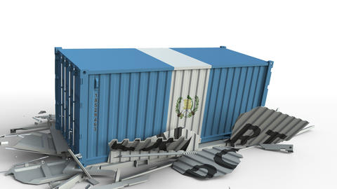 Cargo container with flag of Guatemala breaks container with EXPORT text Live Action