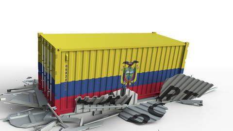 Cargo container with flag of Ecuador breaks container with EXPORT text Live Action