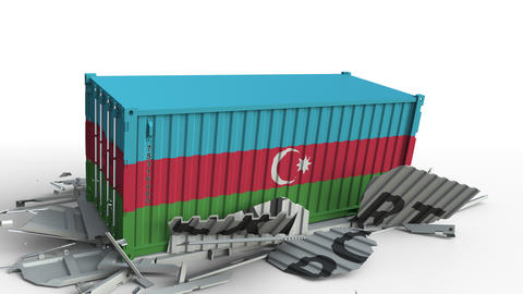 Cargo container with flag of Azerbaijan breaks container with EXPORT text Live Action