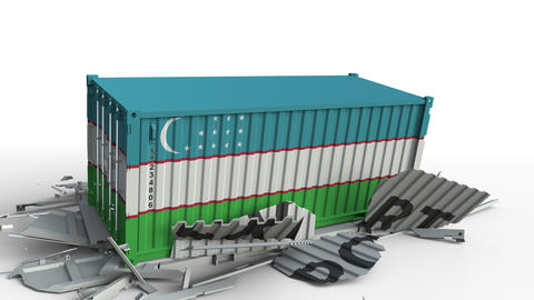 Cargo container with flag of Uzbekistan breaks container with EXPORT text Live Action