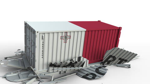 Cargo container with flag of Malta breaks container with EXPORT text. Conceptual Live Action
