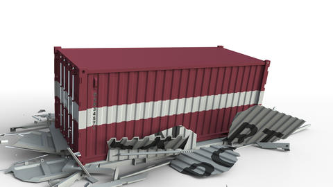 Cargo container with flag of Latvia breaks container with EXPORT text Live Action